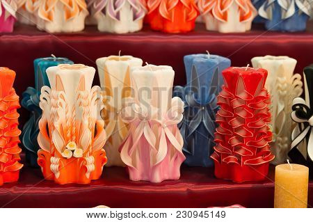 Wick, Paraffin Or Wax Od Various Colors, Decor. Candles On Shelf In Decoration Shop. Decor, Design,