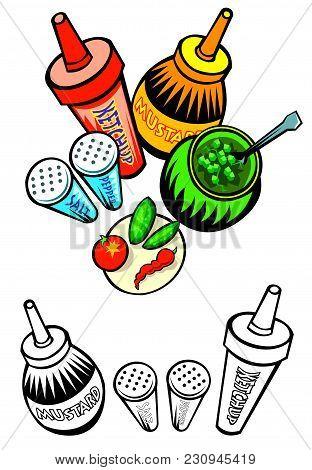 Assortment Of Condiments With Bonus Black Outline Versions