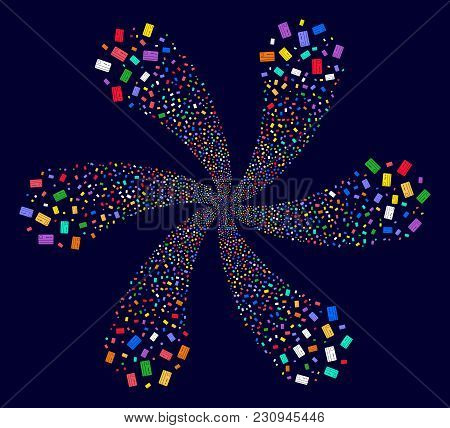 Attractive Bank Card Explosion Flower With 6 Petals On A Dark Background. Psychedelic Curl Organized