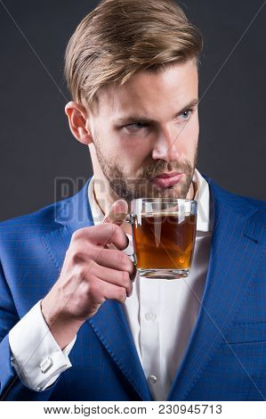 Businessman Hold Coffee Or Tea Cup, Hot Drink. Man With Glass Mug In Hand, Morning. Coffee Mood, Cof