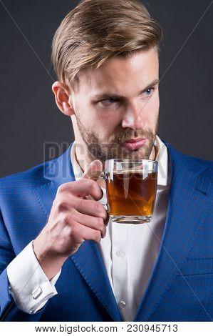 Businessman Hold Coffee Or Tea Cup, Hot Drink. Man With Glass Mug In Hand, Morning. Coffee Mood, Cof