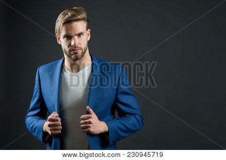 Successful Business Man In Classy Suit Jacket. Success, Confidence, Elegance, Copy Space