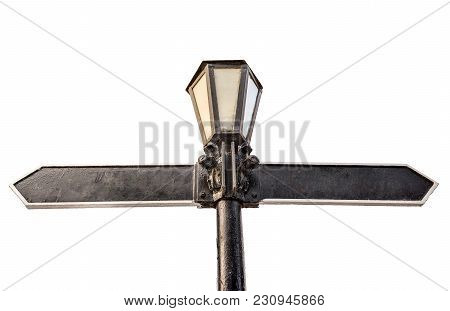 Blank Directional Arrow On Street Light Isolated On White.  Metal Retro Lamp As Direction Sign. Dire