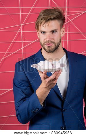 Man Hold Plate With Zephyr, Dessert. Businessman In Suit With Marshmallow, Food. Dessert, Confection