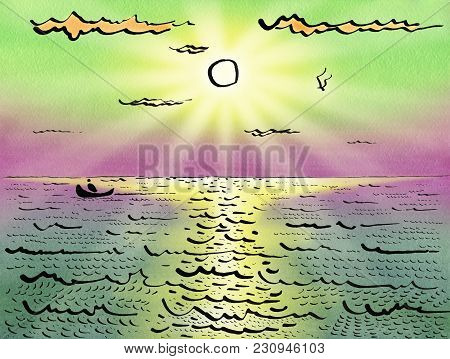 The Boat With Fisherman Sails On The Sea Under The Sun And Clouds. Over The Waves A Seagull Flies. S