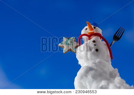 Little Happy Christmas Snowman In Blue Screw Top As Hat Red Scarf And With Fork Gingerbread Cake Coo