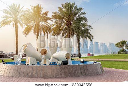Doha, Qatar - 3rd April 2017: Jar Fountain At The Corniche Street Near The Museums Park