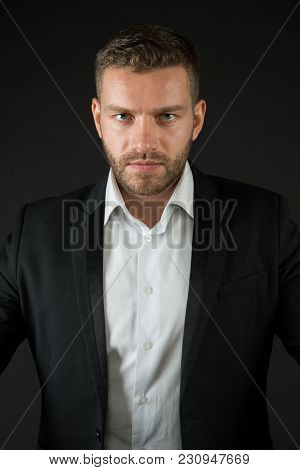 Businessman In Jacket And Shirt, Dress Code. Man With Bearded Face, Blond Hair, Haircut, Style. Fash