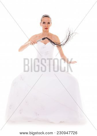 Wedding Day. Full Length Young Attractive Bride In White Dress With Black Leather Flogging Whip Isol
