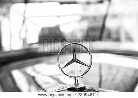 Berlin, Germany - May 31, 2017: Mercedes Benz Sign Or Logo Close Up. Founded In 1926 Is A German Lux