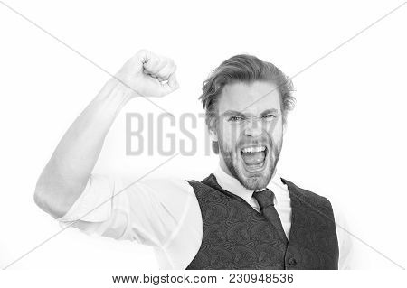 Successful Bearded Man Or Happy Gentleman In Waistcoat And Tie Isolated On White Background, Busines