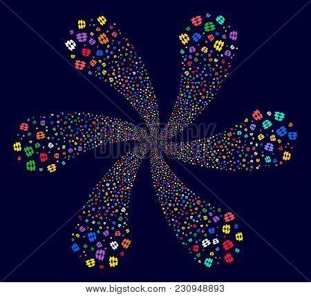 Multicolored Open Box Twirl Flower With 6 Petals On A Dark Background. Impressive Flower Organized F