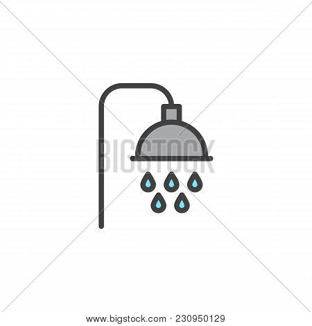 Shower Filled Outline Icon, Line Vector Sign, Linear Colorful Pictogram Isolated On White. Shower He
