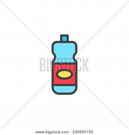 Detergent Bottle Filled Outline Icon, Line Vector Sign, Linear Colorful Pictogram Isolated On White.
