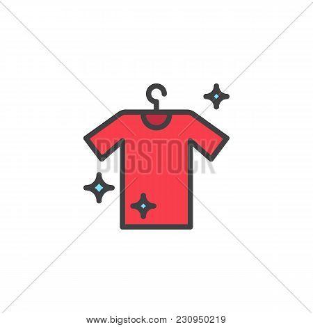 Hanging Clean Shirt Filled Outline Icon, Line Vector Sign, Linear Colorful Pictogram Isolated On Whi