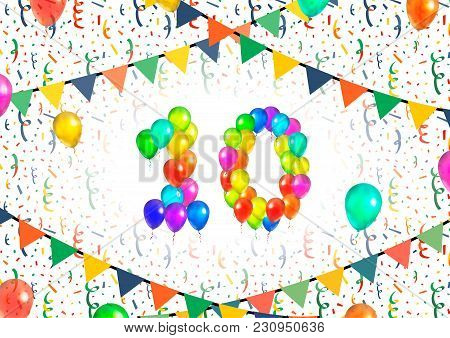 Number Ten Made Up From Bright Colorful Balloons On White Background With Confetti