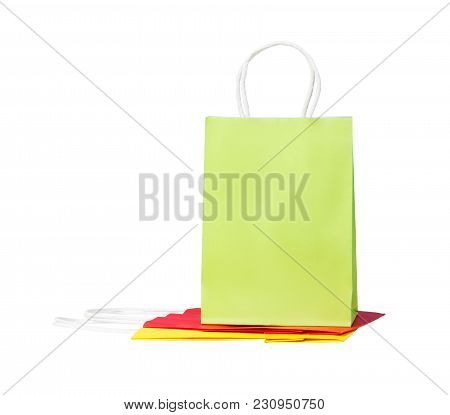 Three Color Paper Bags, Isolated On White.