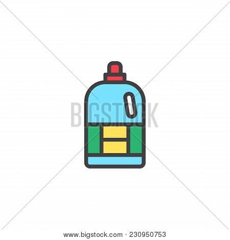 Softener Bottle Filled Outline Icon, Line Vector Sign, Linear Colorful Pictogram Isolated On White.