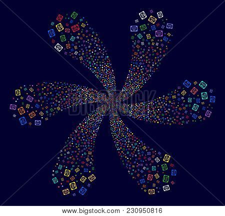 Multi Colored License Rotation Flower Cluster On A Dark Background. Hypnotic Curl Designed From Rand