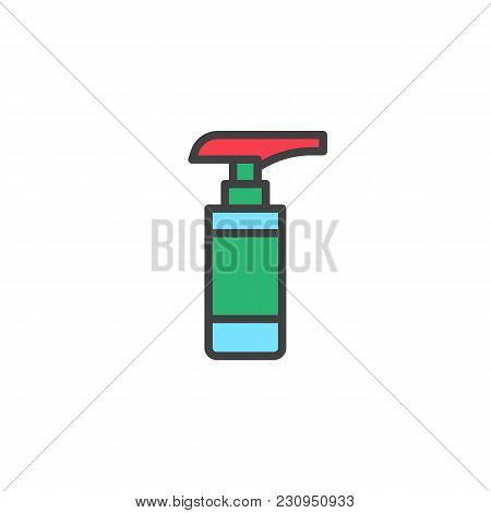 Spray Bottle Filled Outline Icon, Line Vector Sign, Linear Colorful Pictogram Isolated On White. Cle