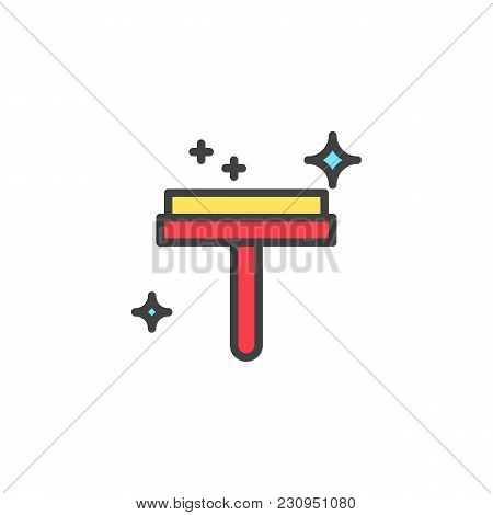 Glass Cleaner Filled Outline Icon, Line Vector Sign, Linear Colorful Pictogram Isolated On White. Wi