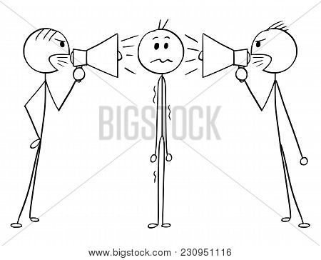 Cartoon Stick Man Drawing Conceptual Illustration Of Man Or Businessman Standing Stressed And Unsure