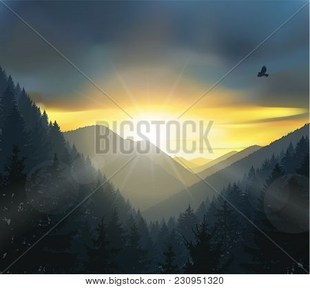 Nature Background Of Mountains Panorama. Colorful Sunset In Wild Valley.
