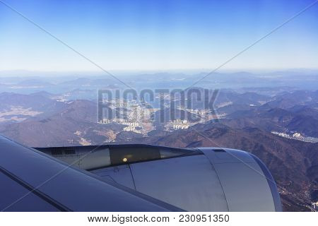 Scenery From Airplane's Window Viewing Blue Sky , South Korean Peninsula , Adjacent Islands And Busa