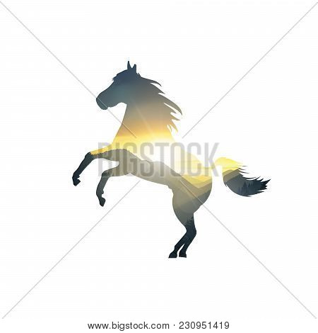 Silhouette Of Running Horse With Mountains Panorama. Colorful Sunset In Wild Valley.