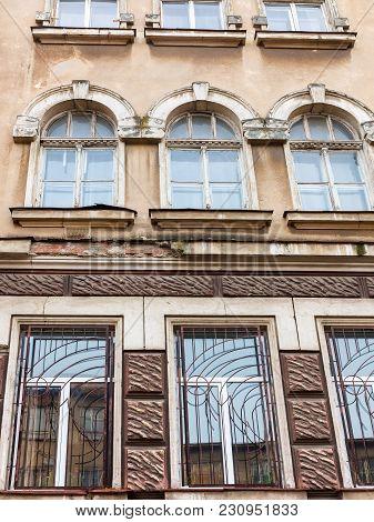 Ancient Historical Destructible Building. Old Architecture, Broken Glass