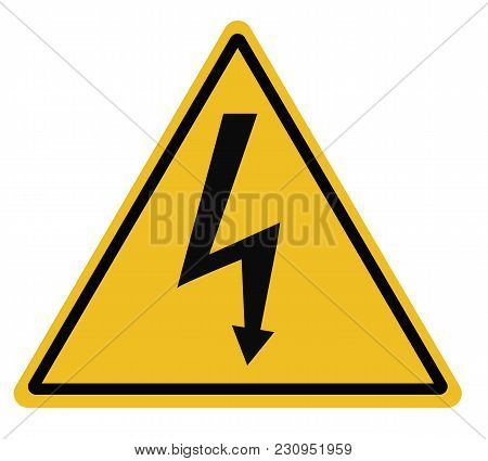 High Voltage Triangular Warning Sign On White Background. High Voltage Sign. Lightning Warning Black