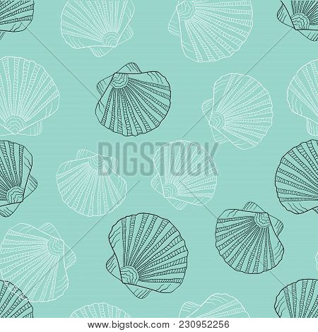 Vector Illustration In Sketch Style. Sea Shell Pattern. Marine Set. Perfect For Invitations, Greetin