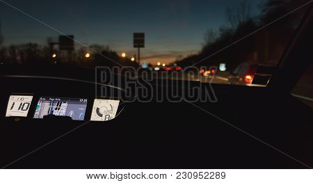Mulhouse, France - December 25, 2017 : Interior View And Gps Of A Car Driving At Night On The A36 Mo