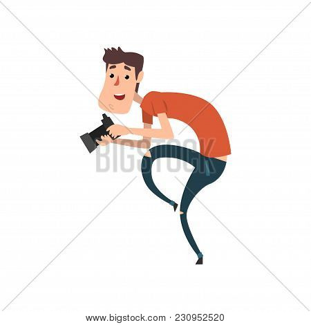 Professional Male Photographer Paparazzi With Camera Sneaking Vector Illustration Isolated On A Whit