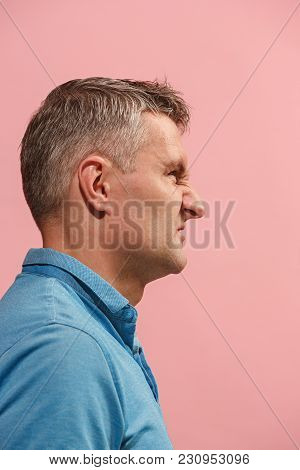 Screaming, Hate, Rage. Crying Emotional Angry Man Screaming On Pink Studio Background. Emotional, Yo