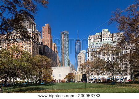 New York, United States Of America - November 18, 2016: Battery Park And Skyline View In Lower Manha
