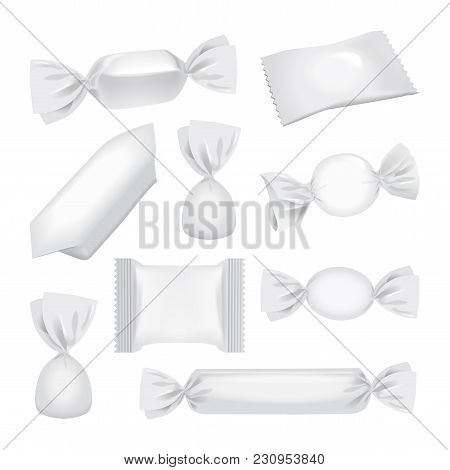 White Foil Pack For Candies And Other Products, Realistic Food Snack Pack Mock Up For Your Design