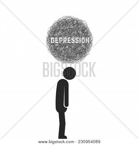 Depression With Black Stick Figure. Simple Flat Style Trend Modern Logo Graphic Design Isolated On W