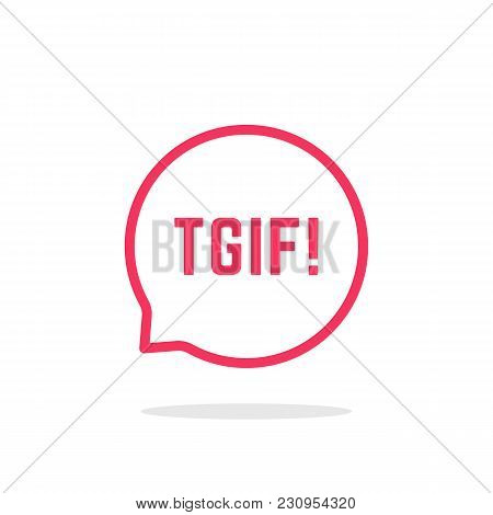 Pink Thin Line Tgif Logo Like Speech Bubble. Linear Flat Style Trend Modern Logotype Graphic Design