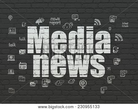 News Concept: Painted White Text Media News On Black Brick Wall Background With  Hand Drawn News Ico