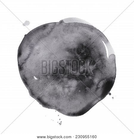 Hand-drawn Watercolor Black Round Spot. Ink Cirkle Stain. Use For Wrap, Wallpaper, Website, Decor. I