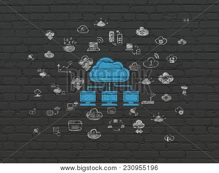 Cloud Technology Concept: Painted Blue Cloud Network Icon On Black Brick Wall Background With  Hand