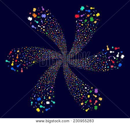 Bright Fried Chicken Exploding Abstract Flower On A Dark Background. Suggestive Flower With Six Peta