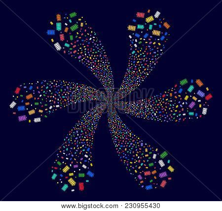 Multicolored Electric Battery Exploding Flower With 6 Petals On A Dark Background. Impressive Centri