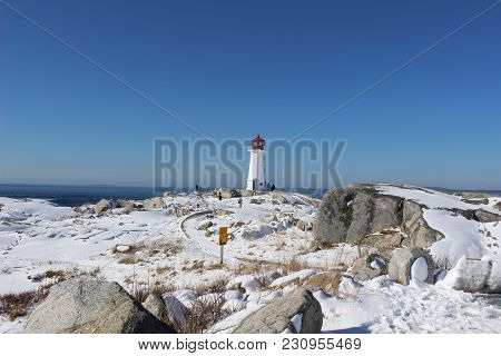 Snowy Landscape At Peggy's Cove In Winter