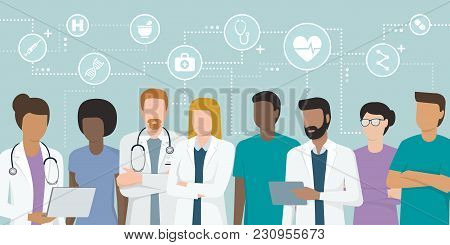 Multiethnic Team Of Doctors And Nurses Working Together, Network Of Concepts On The Top: Healthcare
