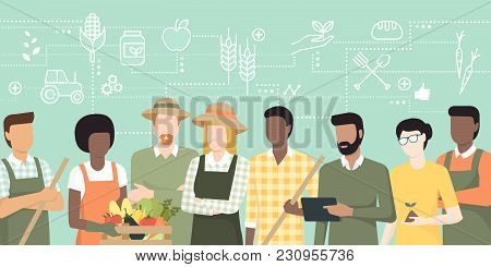 Multiethnic Team Of Farmers Working Together And Connecting With A Tablet, Network Of Concepts On Th