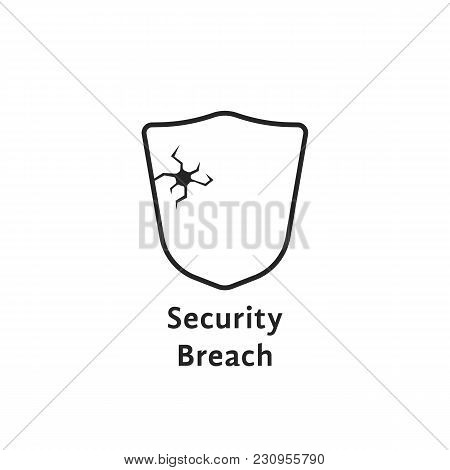 Black Thin Line Security Breach Like Shield. Concept Of Database Cybersecurity Or Fail Defense From