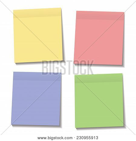 Set Of Yellow, Green, Blue And Pink Paper Sticky Notes Glued To The Surface Isolated On Transparent