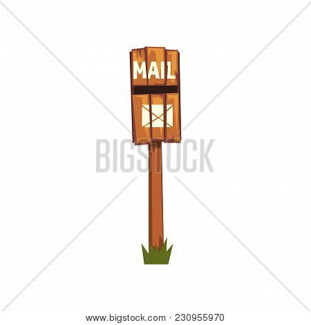 Old Wooden Mailbox Standing On Piece Of Green Grass. Cartoon Icon Of Brown Post Box On Pole Made Out
